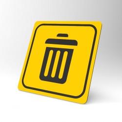 Plaque signalétique carrée : La poubelle