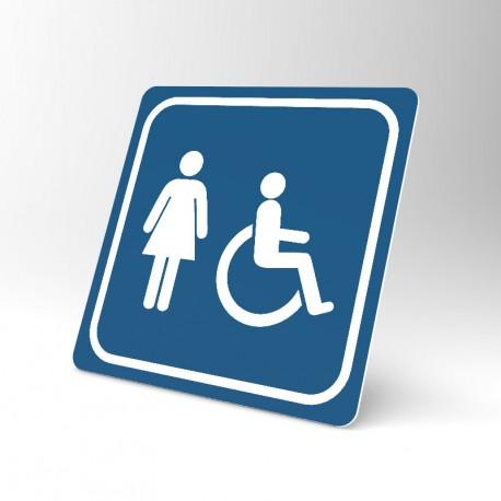Plaque signalétique carrée : Toilettes femme handicapée