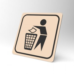 Plaque signalétique carrée : La poubelle 4