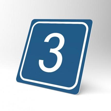 Plaque signalétique carrée : Chiffre 3