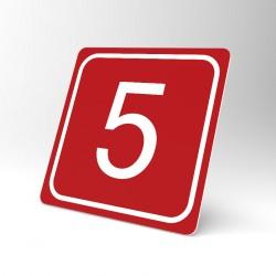 Plaque signalétique carrée : Chiffre 5