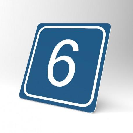 Plaque signalétique carrée : Chiffre 6