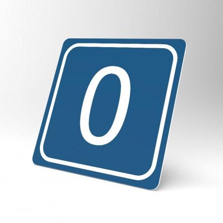 Plaque signalétique carrée : Chiffre 0