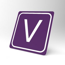 Plaque signalétique carrée : Lettre V