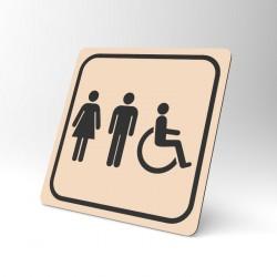 Plaque signalétique carrée : Toilettes mixtes handicapés