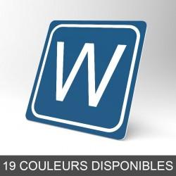 Plaque signalétique carrée : Lettre W