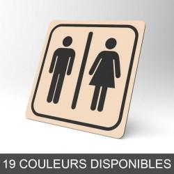 Plaque signalétique carrée : Toilettes hommes / femmes