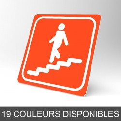 Plaque signalétique carrée : Escalier descendant