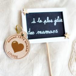 Porte-clés bois coeur or