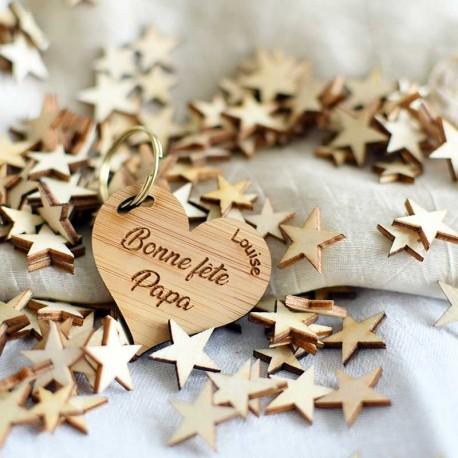 Porte-clés bois forme coeur