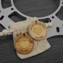 Porte-clés bois en coeur or