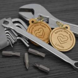 Porte-clés en bois double coeur